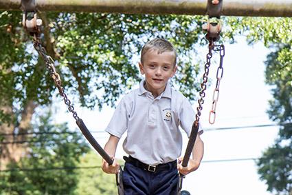 student on swing